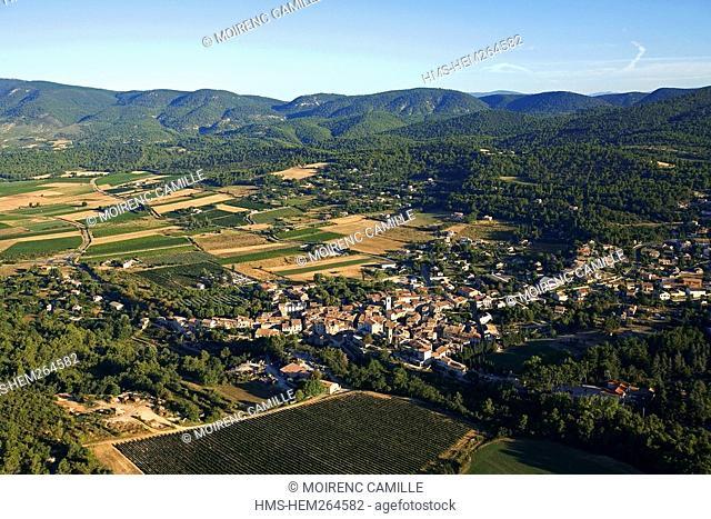 France, Vaucluse, Luberon, Aigues Valley, La Bastide des Jourdans aerial view