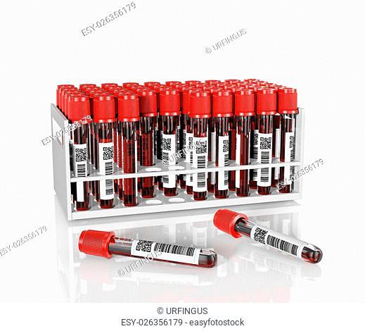 3D render, illustration.Medical test tubes with blood in holder on white background