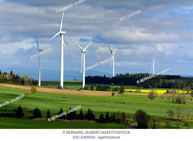 Wind turbine on the plateau of Ally-Mercoeur, Haute Loire, Auvergne, France. Europe