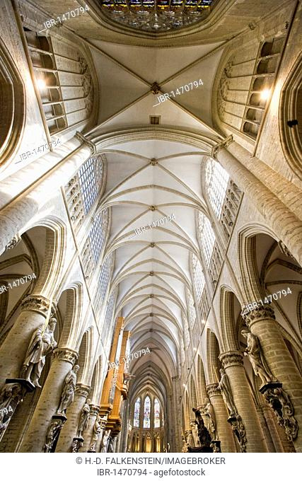 Inside shot, St. Michael and St. Gudula Cathedral, Brussels, Belgium, Europe
