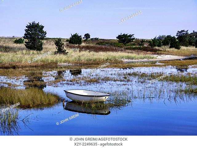 Dinghy anchored in shallow salt pond, Martha's Vineyard, Massachusetts, USA