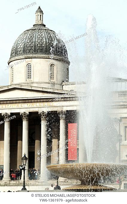 Nattional Gallery with fountain at Trafalgar Square,London,England
