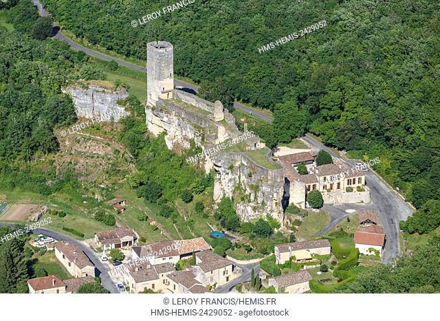 France, Lot et Garonne, Gavaudun, the castle (aerial view)