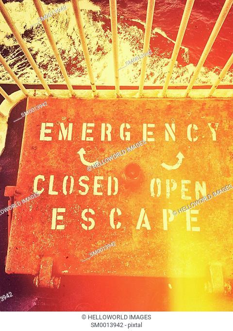 Ferry emergency escape hatch chute