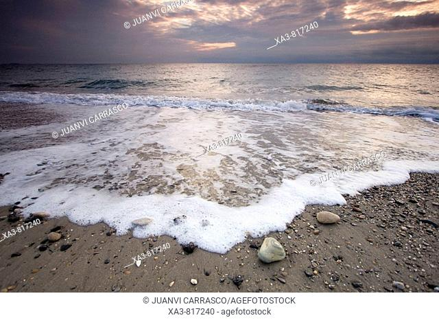 Beach at sunrise, Almeria province, Andalusia, Spain