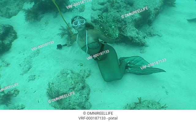 Young female scuba diver dressed in Mermaid costume laying on sandy seabed holding onto oxygen tube and holding a tambourine