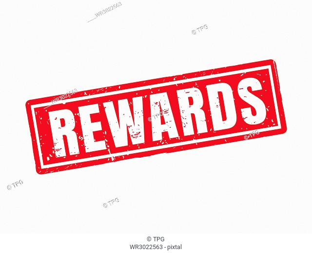 rewards in red stamp style, white background