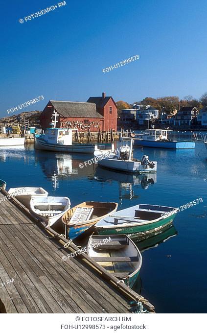Rockport, harbor, fishing boats, MA, Massachusetts, Fishing boats docked in Rockport Harbor in Rockport in the fall