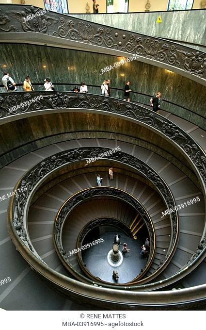 Italy, Rome, Vatican, Vatican museum, stairway-ascent, visitors