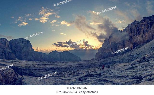 Panoramic view of mountain sunset. Brenta Dolomites above Madonna di Campiglio, Italy