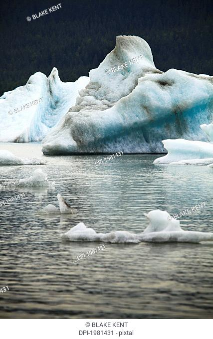 icebergs floating in mendenall bay, juneau alaska united states of america