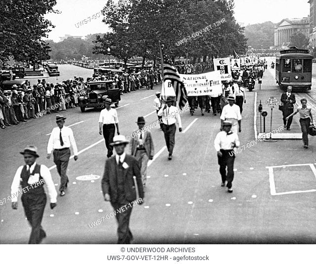 Washington, D.C.: June 7, 1932.Led by some of the officers under whom they served in France, more than 5,000 members of the Bonus Expeditionary Forces marched...
