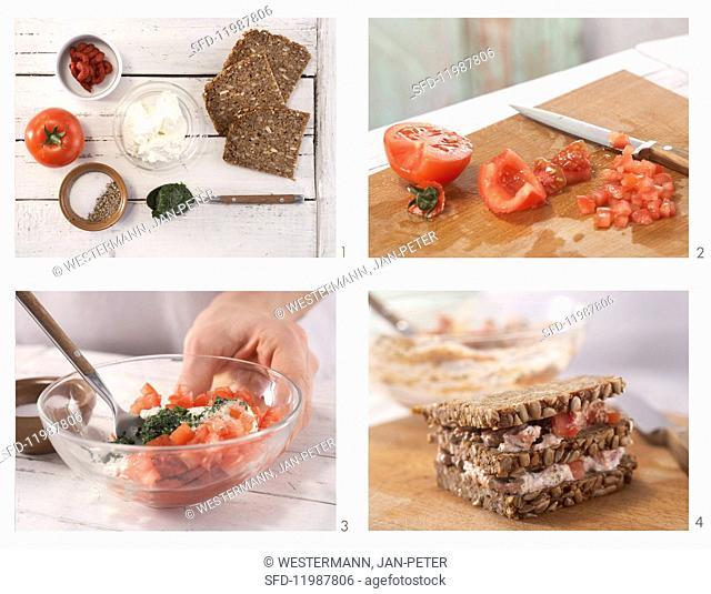How to prepare ricotta & tomato sandwiches