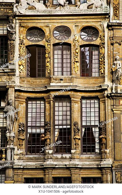 Le Cornet Building Detail in The Grand Place Brussels Belgium