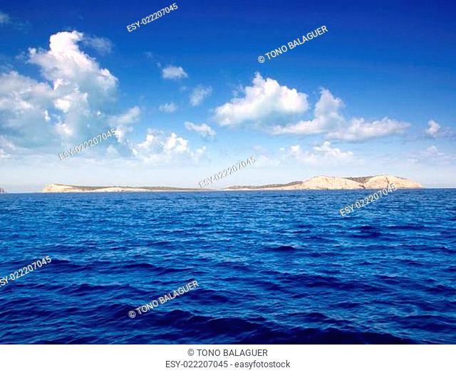 Ibiza Conillera and Bosque islands in blue day
