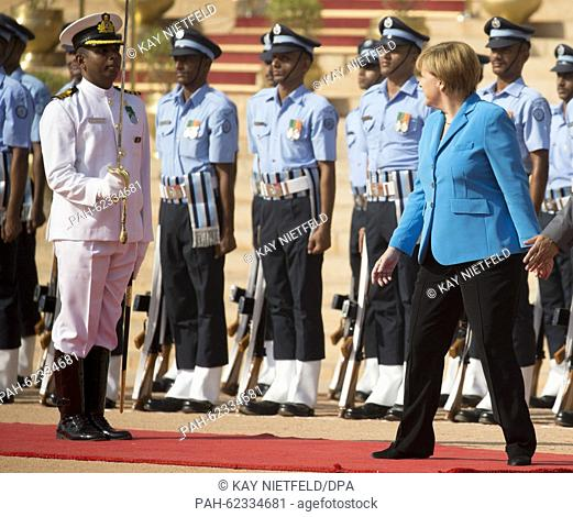 German Chancellor Angela Merkel is received with military honours upon her arrival in New Dehli, India, 05 October 2015. Germany wants to be a partner in...