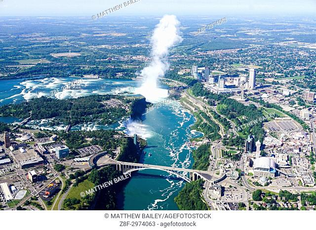 Looking down at Niagara Falls from a helicopter
