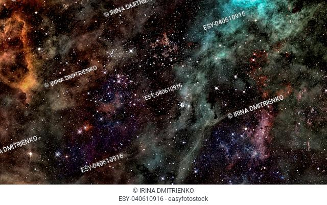 Stars of a planet and galaxy in a free space. Elements of this image furnished by NASA