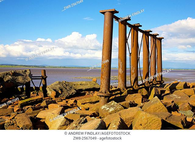 Solway Coast. Ruined remains of the Solway Viaduct, Solway Junction Railway. Herdhill Scar, North Plain, Bowness on Solway, Solway Coast, Cumbria, England