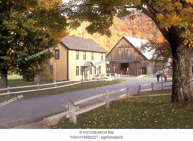 historic site, fall, Plymouth Notch, VT, Vermont, The Wilder House and Barn at the Calvin Coolidge State Historic Site in Plymouth Notch in autumn
