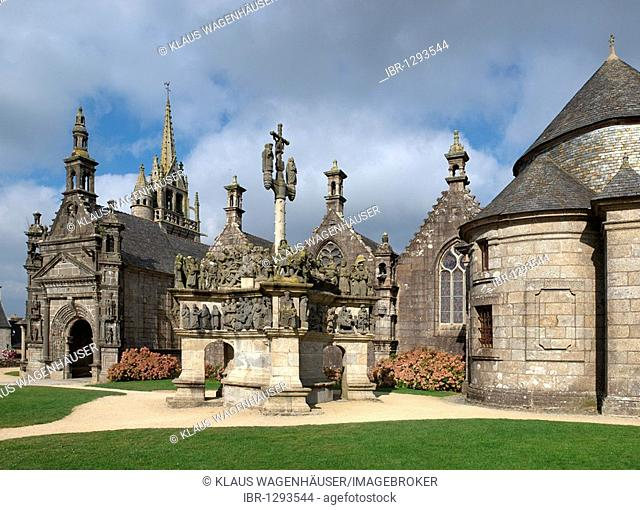 The Church of St. Miliau Guimiliau with Calvaire, Calvary, Finistere, Brittany, France, Europe