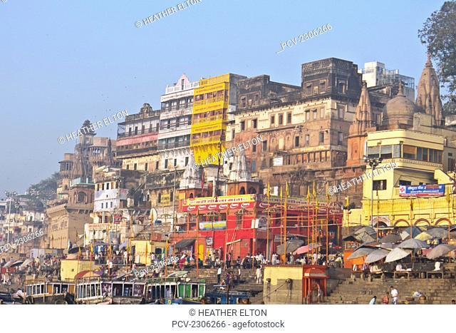 India, Uttar Pradesh, Sunrise On Varanasi Ghats; Varanasi