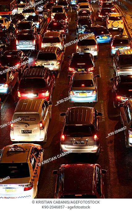 Aerial view of traffic at night, Jakarta, Java, Indonesia, Southeast Asia