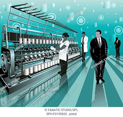 Workers working in a textile factory, illustration