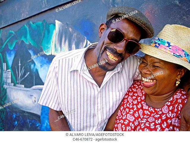 Couple, Castries (the capital). St. Lucia (West Indies)