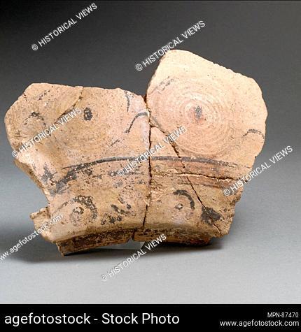 Vase fragments. Period: Late Minoan I; Date: ca. 1600-1450 B.C; Culture: Minoan; Medium: Terracotta; Dimensions: .a: 5 3/16 x 7 5/16 x 5/8 in. (13