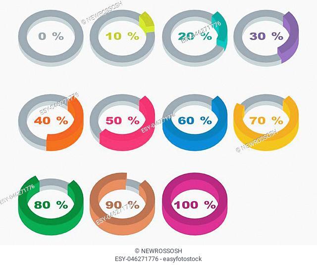 Isometric infographic elements. Vector illustration. Pie chart
