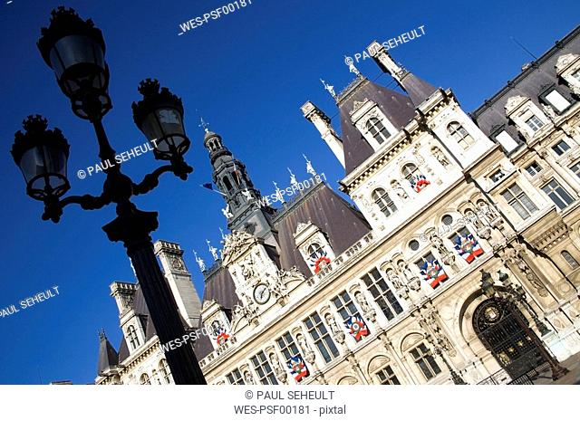 France, Paris, Town Hall, lantern in foreground