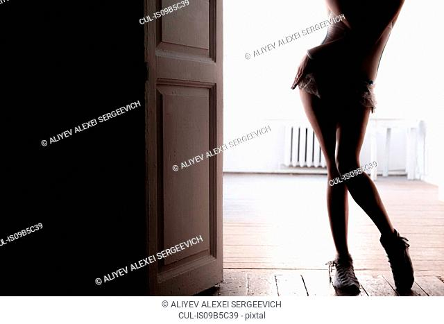 Backlit view of sexy young woman poised in doorway
