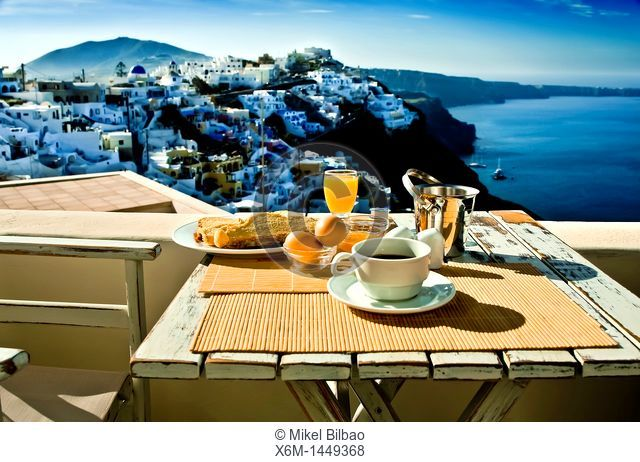 Breakfast and view  Firostefani village  Santorini island, Cyclades islands, Aegean Sea, Greece, Europe