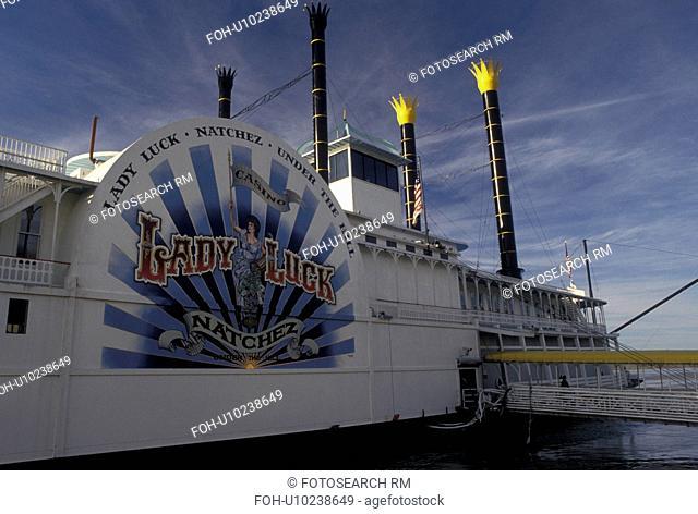 casino, riverboat, Mississippi River, Natchez, Mississippi, MS, Lady Luck Natchez Riverboat Casino on the Mississippi River in Natchez
