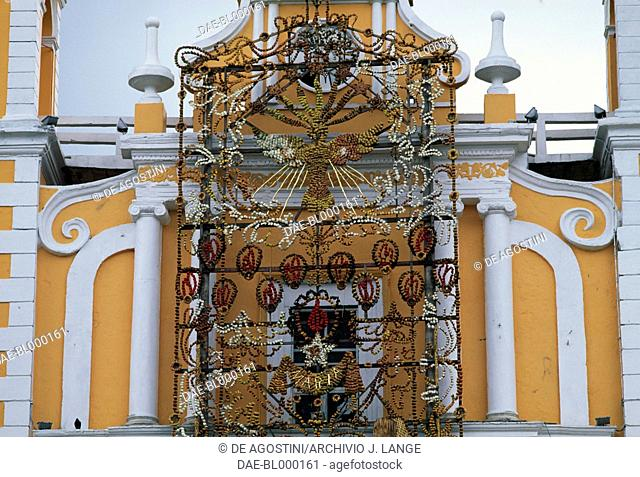 Facade decoration of the church of Santa Maria Magdalena, Xico, Veracruz, Mexico