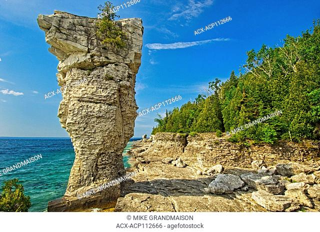 Flower pot of limesotne on Flowerpot Island along Lake Huron, Fathom Five National Marine Park, Ontario, Canada