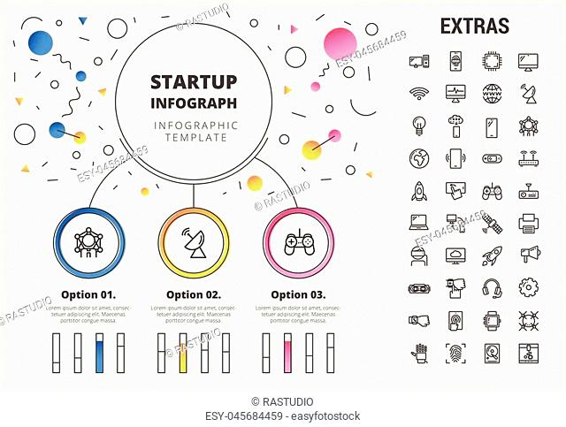 Startup circle infographic template, elements and icons. Infograph includes customizable bar charts, line icon set with startup rocket, business launch