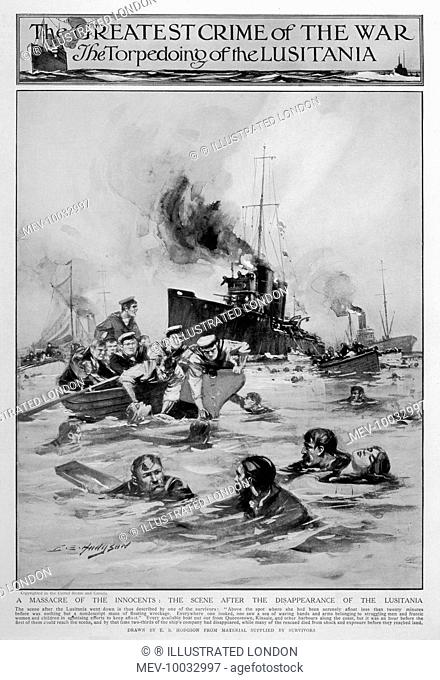 The scene after the Lusitania went down