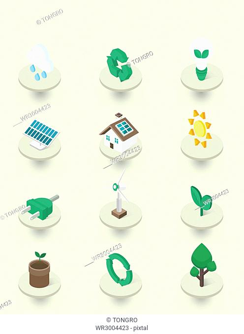 Various icons related to environmental protection