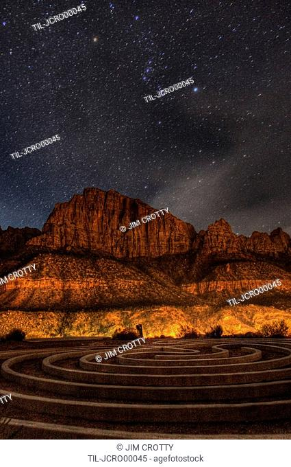 Labyrinth and night sky above Springdale Utah