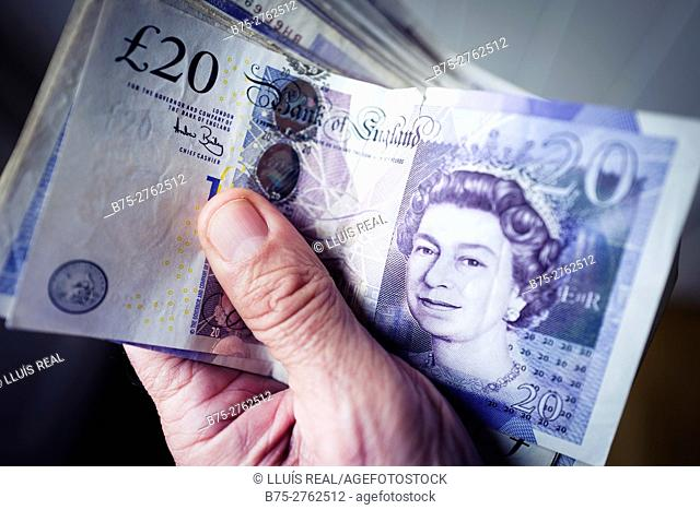 Wad of cash, sterling pounds