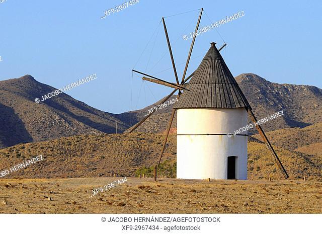 Windmill. Cabo de Gata-Níjar Natural Park. Almería province. Andalusia. Spain