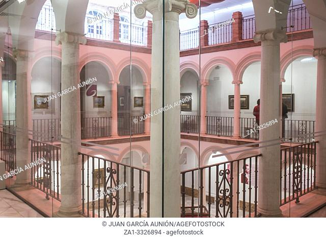 Garnelo Museum covered patio. It exhibits the biggest collection of paintings by Jose Garnelo painter. Cordoba, Spain