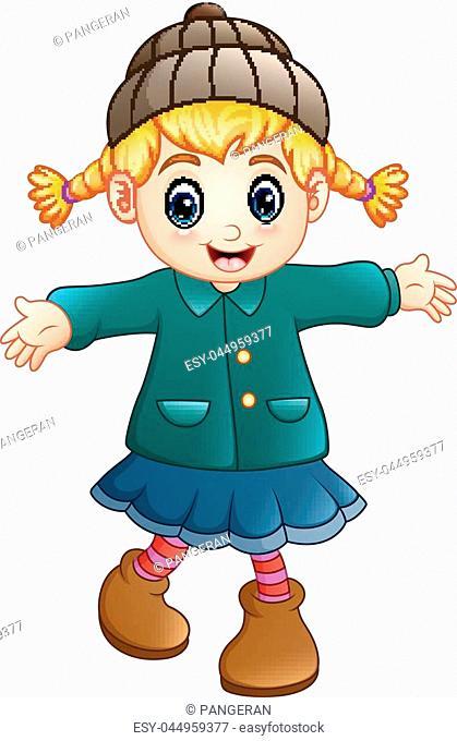 Vector illustration of Cute little girl wearing hat