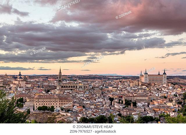 Sunset cityscape of ancient city of Toledo, Spain, Europe