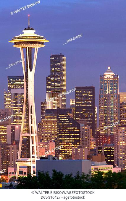 City skyline with Space Needle at evening from Queen Anne Hill. Seattle. USA
