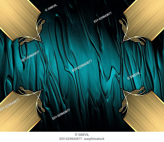 Abstract blue background with gold inlays of gold. Design template. Design site