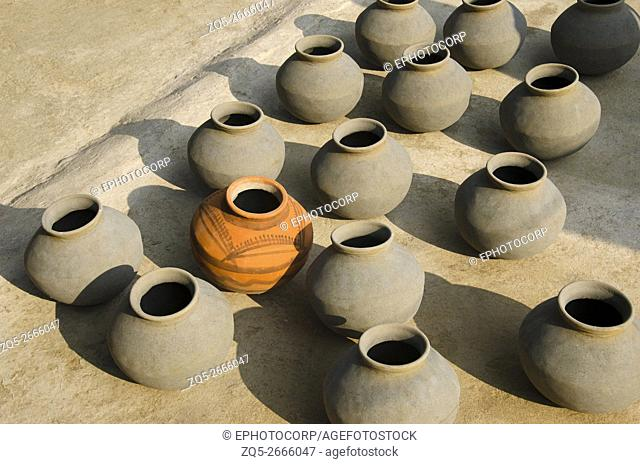 Earthen pots, Near South - Eastern group of temples of Hindu and Jain temples, Khajuraho, Madhya Pradesh, India