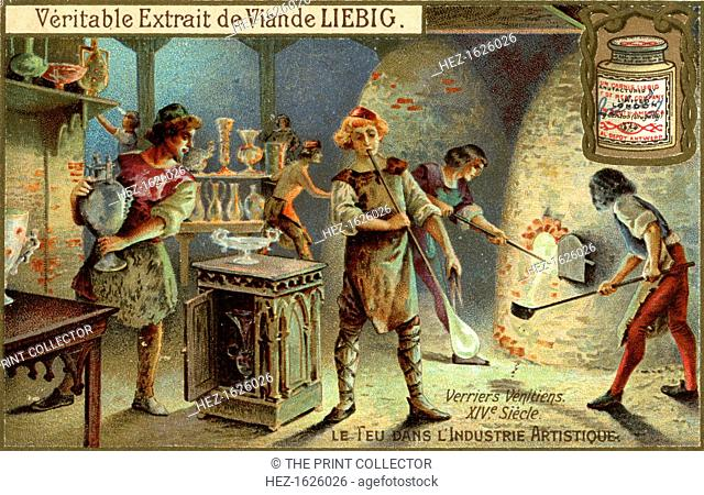Glassmakers in the 14th century, (c1900). Fire in the artistic industry, French advertising for Liebig Meat Extract